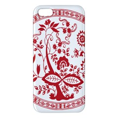 Red Vintage Floral Flowers Decorative Pattern Apple Iphone 5 Premium Hardshell Case by Simbadda