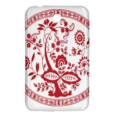 Red Vintage Floral Flowers Decorative Pattern Samsung Galaxy Tab 3 (7 ) P3200 Hardshell Case  by Simbadda