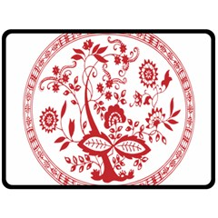 Red Vintage Floral Flowers Decorative Pattern Double Sided Fleece Blanket (large)  by Simbadda