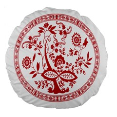 Red Vintage Floral Flowers Decorative Pattern Large 18  Premium Flano Round Cushions by Simbadda