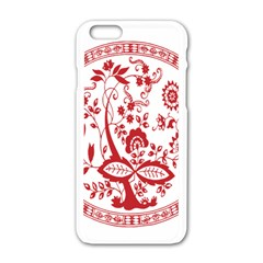 Red Vintage Floral Flowers Decorative Pattern Apple Iphone 6/6s White Enamel Case by Simbadda