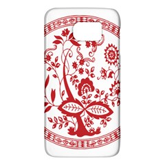 Red Vintage Floral Flowers Decorative Pattern Galaxy S6 by Simbadda