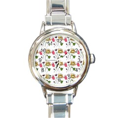 Handmade Pattern With Crazy Flowers Round Italian Charm Watch by Simbadda