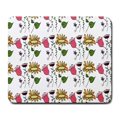 Handmade Pattern With Crazy Flowers Large Mousepads by Simbadda