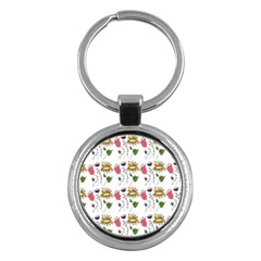 Handmade Pattern With Crazy Flowers Key Chains (round)  by Simbadda
