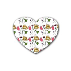 Handmade Pattern With Crazy Flowers Rubber Coaster (heart)  by Simbadda