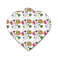 Handmade Pattern With Crazy Flowers Dog Tag Heart (two Sides) by Simbadda