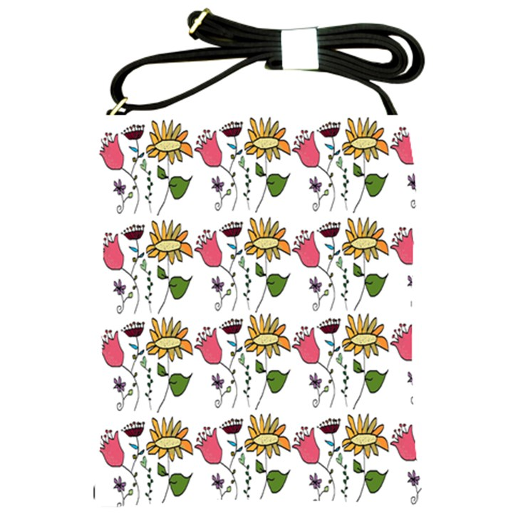 Handmade Pattern With Crazy Flowers Shoulder Sling Bags
