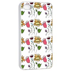 Handmade Pattern With Crazy Flowers Apple Iphone 4/4s Seamless Case (white) by Simbadda