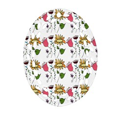Handmade Pattern With Crazy Flowers Oval Filigree Ornament (two Sides) by Simbadda