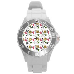Handmade Pattern With Crazy Flowers Round Plastic Sport Watch (l) by Simbadda