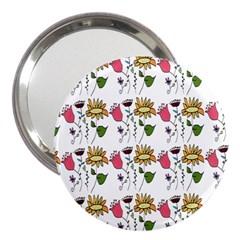 Handmade Pattern With Crazy Flowers 3  Handbag Mirrors by Simbadda