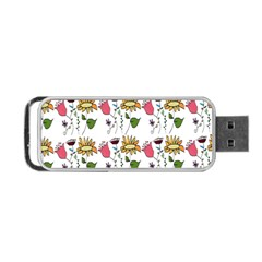 Handmade Pattern With Crazy Flowers Portable Usb Flash (two Sides) by Simbadda