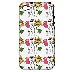 Handmade Pattern With Crazy Flowers Apple Iphone 4/4s Hardshell Case (pc+silicone) by Simbadda