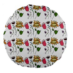 Handmade Pattern With Crazy Flowers Large 18  Premium Round Cushions by Simbadda
