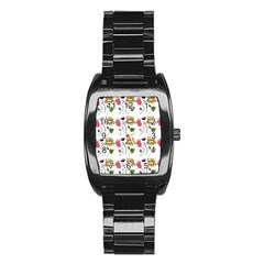 Handmade Pattern With Crazy Flowers Stainless Steel Barrel Watch by Simbadda