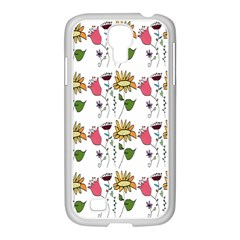 Handmade Pattern With Crazy Flowers Samsung Galaxy S4 I9500/ I9505 Case (white) by Simbadda