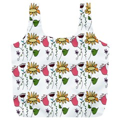 Handmade Pattern With Crazy Flowers Full Print Recycle Bags (l)  by Simbadda