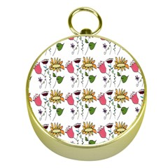 Handmade Pattern With Crazy Flowers Gold Compasses by Simbadda