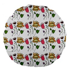 Handmade Pattern With Crazy Flowers Large 18  Premium Flano Round Cushions by Simbadda