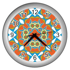 Digital Computer Graphic Geometric Kaleidoscope Wall Clocks (silver)  by Simbadda