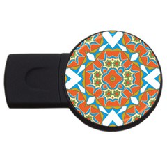 Digital Computer Graphic Geometric Kaleidoscope Usb Flash Drive Round (4 Gb) by Simbadda