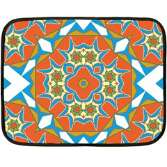Digital Computer Graphic Geometric Kaleidoscope Double Sided Fleece Blanket (mini)  by Simbadda