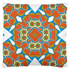 Digital Computer Graphic Geometric Kaleidoscope Large Cushion Case (two Sides) by Simbadda