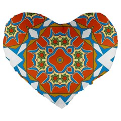 Digital Computer Graphic Geometric Kaleidoscope Large 19  Premium Heart Shape Cushions by Simbadda