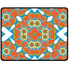 Digital Computer Graphic Geometric Kaleidoscope Double Sided Fleece Blanket (medium)  by Simbadda