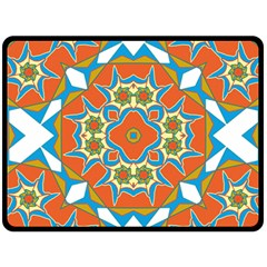 Digital Computer Graphic Geometric Kaleidoscope Double Sided Fleece Blanket (large)  by Simbadda