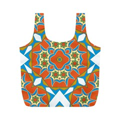 Digital Computer Graphic Geometric Kaleidoscope Full Print Recycle Bags (m)  by Simbadda