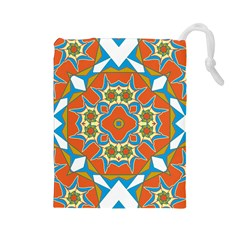 Digital Computer Graphic Geometric Kaleidoscope Drawstring Pouches (large)  by Simbadda