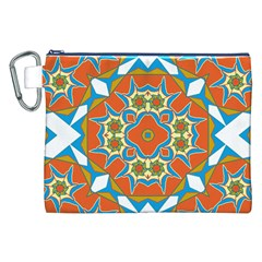 Digital Computer Graphic Geometric Kaleidoscope Canvas Cosmetic Bag (xxl) by Simbadda