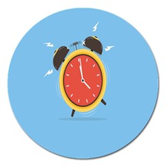 Alarm Clock Weker Time Red Blue Magnet 5  (round) by Alisyart