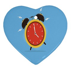 Alarm Clock Weker Time Red Blue Heart Ornament (two Sides) by Alisyart