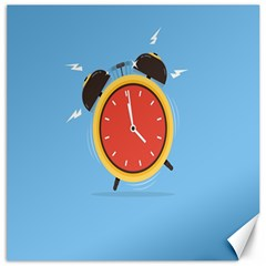 Alarm Clock Weker Time Red Blue Canvas 16  X 16   by Alisyart