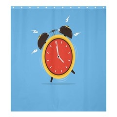 Alarm Clock Weker Time Red Blue Shower Curtain 66  X 72  (large)  by Alisyart