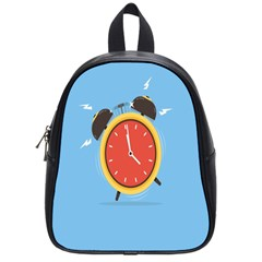 Alarm Clock Weker Time Red Blue School Bags (small)  by Alisyart