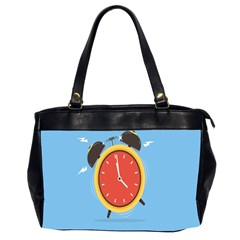 Alarm Clock Weker Time Red Blue Office Handbags (2 Sides)  by Alisyart