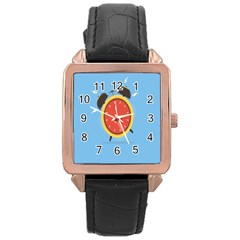 Alarm Clock Weker Time Red Blue Rose Gold Leather Watch  by Alisyart