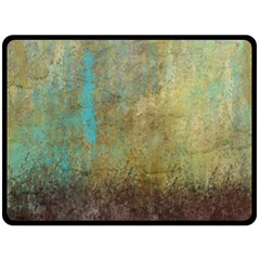 Aqua Textured Abstract Double Sided Fleece Blanket (large)  by theunrulyartist