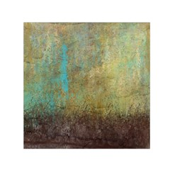 Aqua Textured Abstract Small Satin Scarf (square) by theunrulyartist