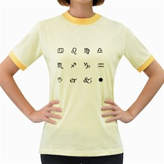 Set Of Black Web Dings On White Background Abstract Symbols Women s Fitted Ringer T Shirts by Amaryn4rt