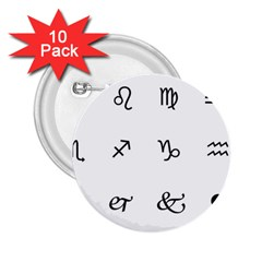 Set Of Black Web Dings On White Background Abstract Symbols 2 25  Buttons (10 Pack)  by Amaryn4rt