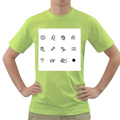 Set Of Black Web Dings On White Background Abstract Symbols Green T Shirt by Amaryn4rt