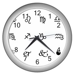 Set Of Black Web Dings On White Background Abstract Symbols Wall Clocks (silver)  by Amaryn4rt