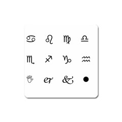 Set Of Black Web Dings On White Background Abstract Symbols Square Magnet by Amaryn4rt