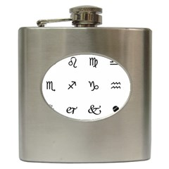 Set Of Black Web Dings On White Background Abstract Symbols Hip Flask (6 Oz) by Amaryn4rt