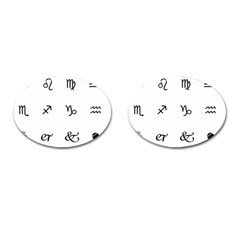 Set Of Black Web Dings On White Background Abstract Symbols Cufflinks (oval) by Amaryn4rt